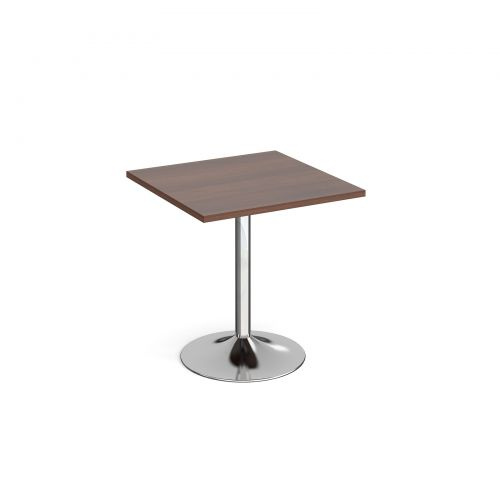 Genoa square dining table with chrome trumpet base 700mm - walnut