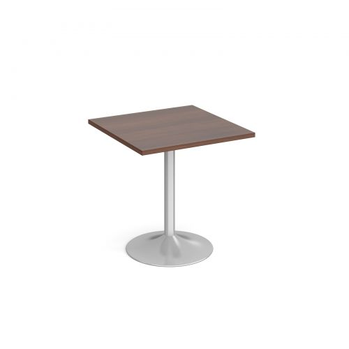 Genoa square dining table with silver trumpet base 700mm - walnut