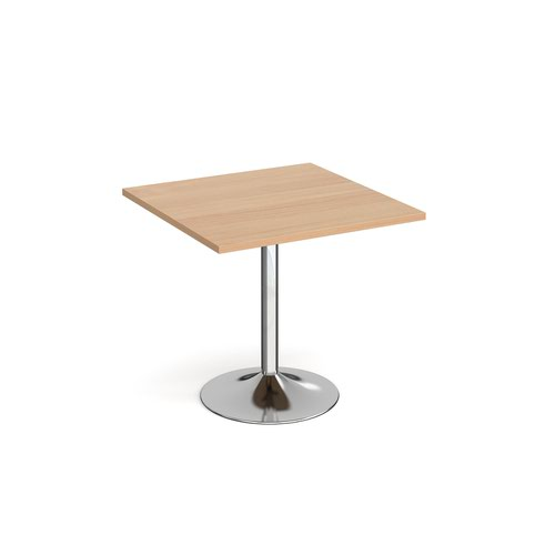 Genoa square dining table with chrome trumpet base 800mm - beech