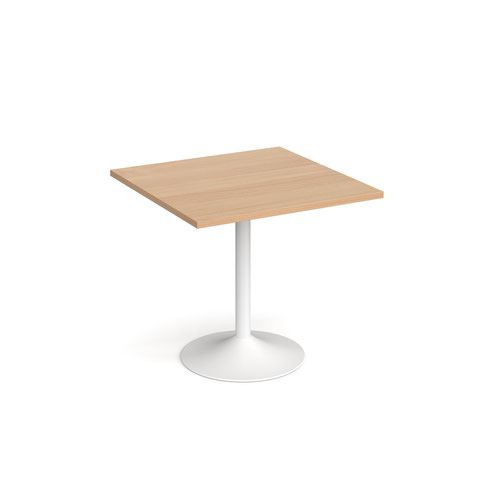 Genoa square dining table with white trumpet base 800mm - beech