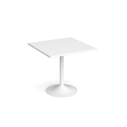 Genoa square dining table with white trumpet base 800mm - white