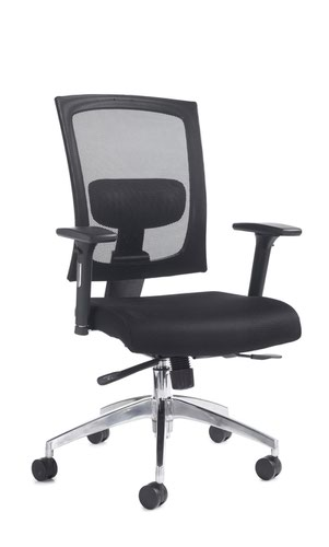 Gemini mesh task chair with adjustable arms - black