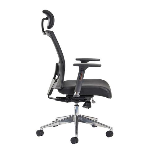 Gemini mesh task chair with adjustable arms and headrest - black