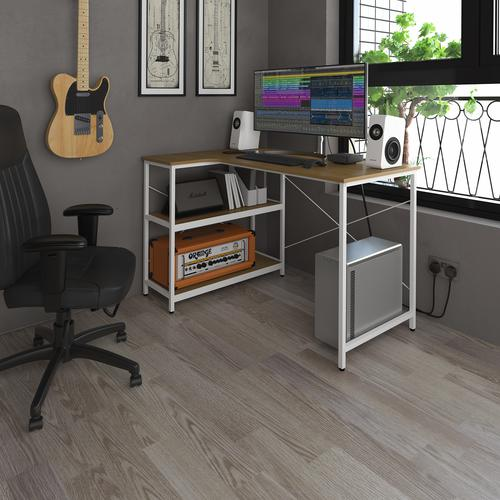 Gondar home office corner workstation with integrated shelving - Summer oak with white frame by Dams International, DES2988