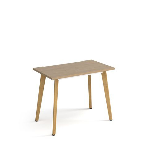 Giza straight desk 1000mm x 600mm with wooden legs - oak finish and oak top