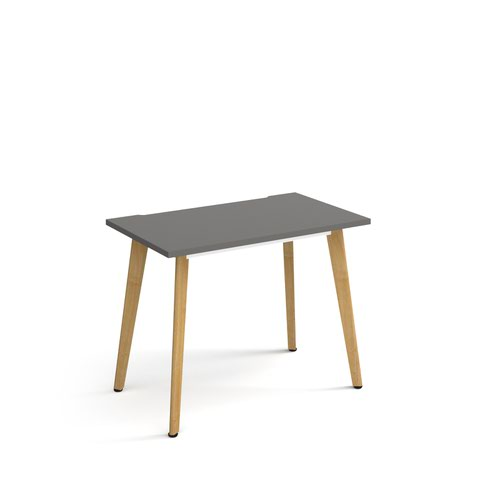 Giza straight desk 1000mm x 600mm with wooden legs - oak finish and grey top