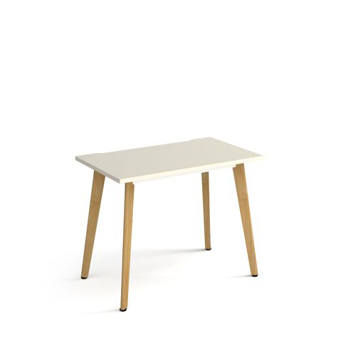 Giza straight desk 1000mm x 600mm with wooden legs - oak finish, white top