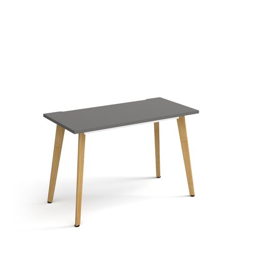 Giza straight desk 1200mm x 600mm with wooden legs - oak finish and grey top