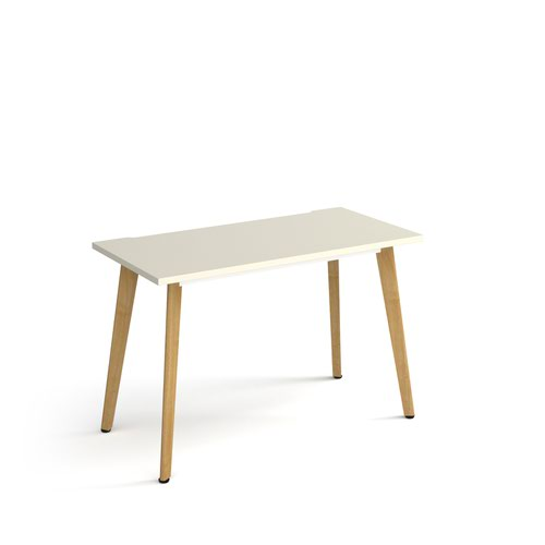 Giza straight desk 1200mm x 600mm with wooden legs - oak finish and white top