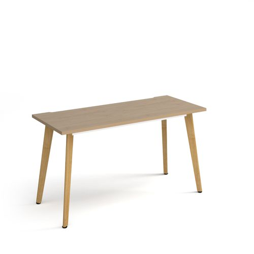 Giza straight desk 1400mm x 600mm with wooden legs - oak finish and oak top