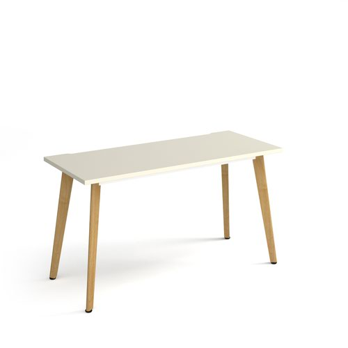 Giza straight desk 1400mm x 600mm with wooden legs - oak finish and white top
