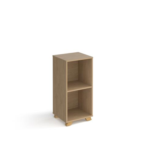 Giza cube storage unit 950mm high with 2 open boxes and wooden legs - oak