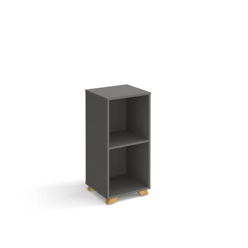 Giza cube storage unit 950mm high with 2 open boxes and wooden legs - grey