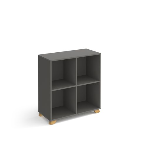 Giza cube storage unit 950mm high with 4 open boxes and wooden legs - grey