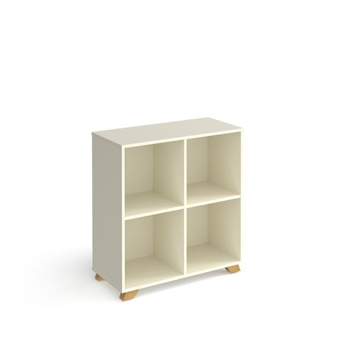 Giza cube storage unit 950mm high with 4 open boxes and wooden legs - white