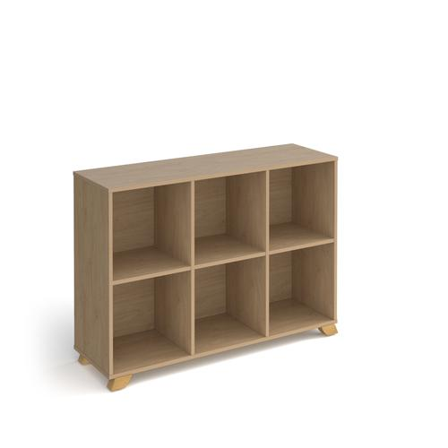 Giza cube storage unit 950mm high with 6 open boxes and wooden legs - oak
