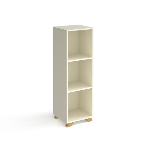 Giza cube storage unit 1370mm high with 3 open boxes and wooden legs - white