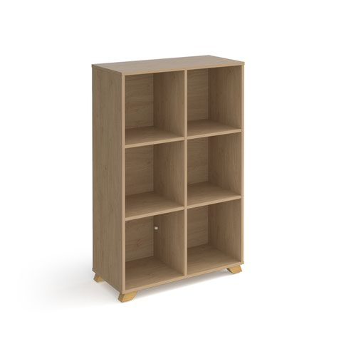 Giza cube storage unit 1370mm high with 6 open boxes and wooden legs - oak