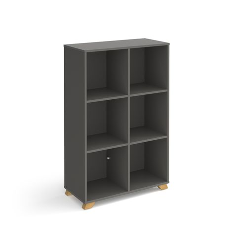 Giza cube storage unit 1370mm high with 6 open boxes and wooden legs - grey