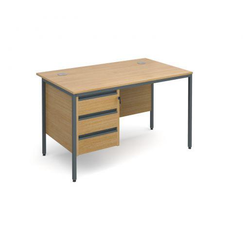 Maestro H frame straight desk with 3 drawer pedestal 1228mm - oak ...
