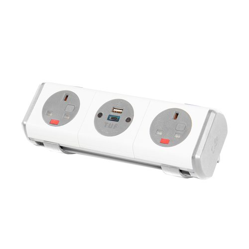 Hubble clip-on power module 2 x UK sockets and 1 x TUF (A&C connectors) USB charger - white