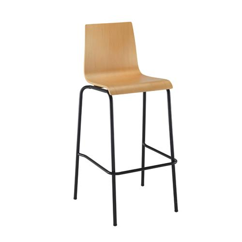 Fundamental dining stool in beech with black frame
