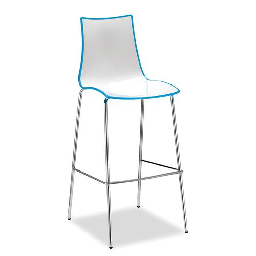 Gecko shell dining stool with anthracite legs - blue