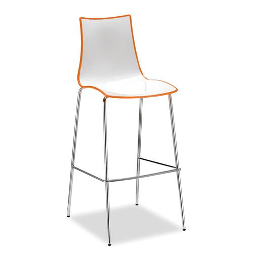 Gecko shell dining stool with white legs - orange