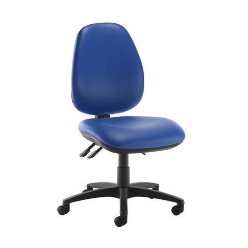 Jota high back operator chair with no arms - Ocean Blue vinyl