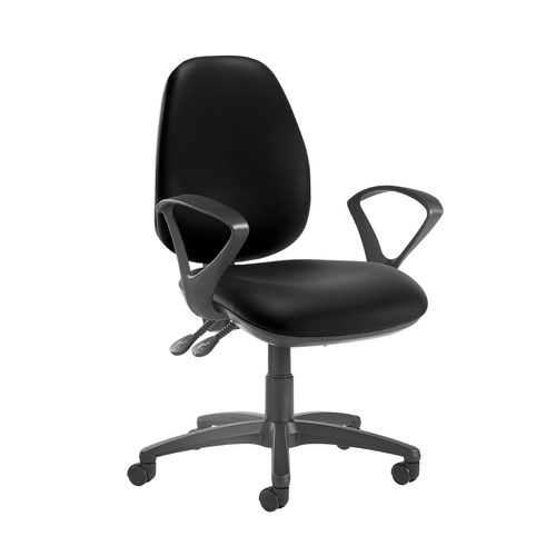 Jota high back operator chair with fixed arms - Nero Black vinyl