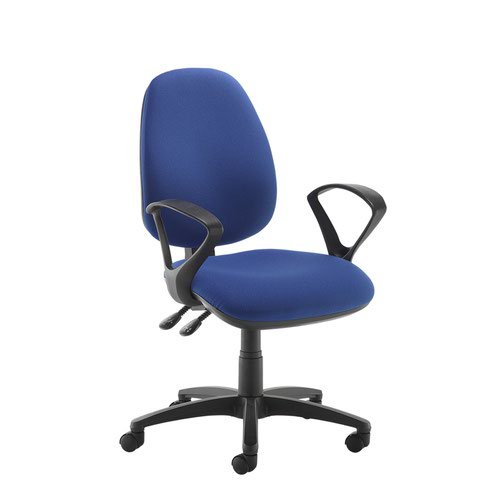 Blue high back operator chair with fixed arms
