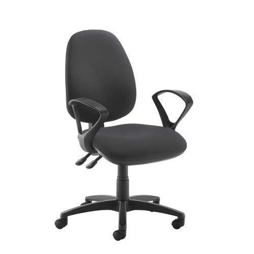 Jota high back operator chair with fixed arms - Blizzard Grey