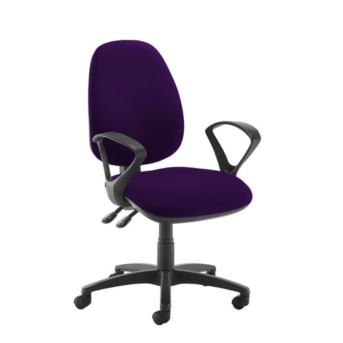 Jota high back operator chair with fixed arms - Tarot Purple