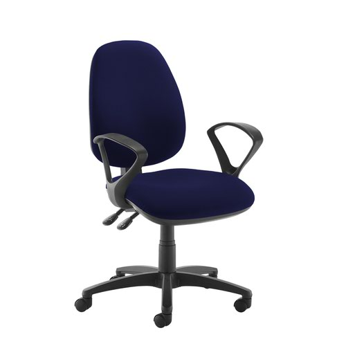 Jota high back operator chair with fixed arms - Ocean Blue