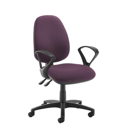 Jota high back operator chair with fixed arms - Bridgetown Purple