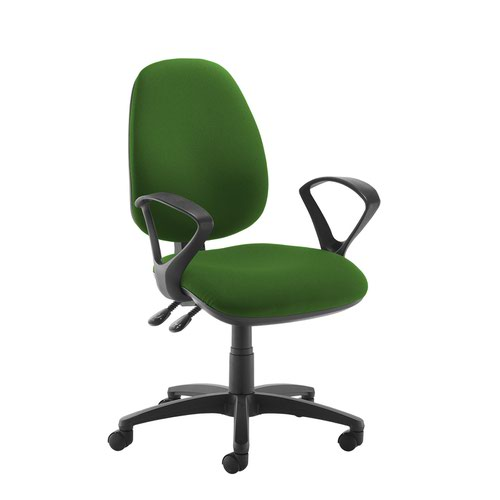 Jota high back operator chair with fixed arms - Lombok Green