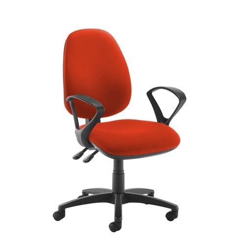 Jota high back operator chair with fixed arms - Tortuga Orange
