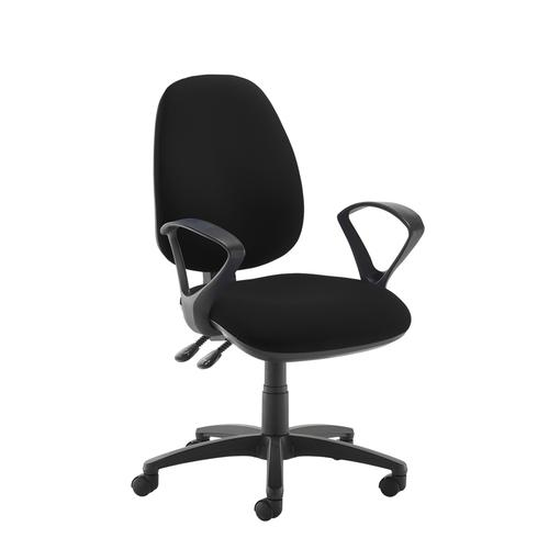 Jota high back operator chair with fixed arms - black