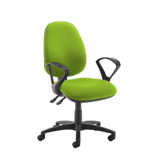 Jota high back operator chair with fixed arms - green