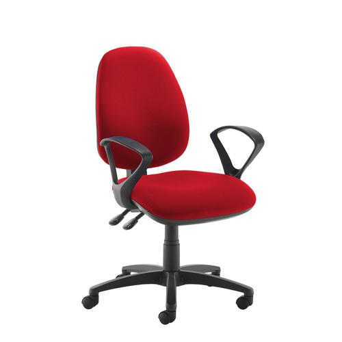 Jota high back operator chair with fixed arms - red