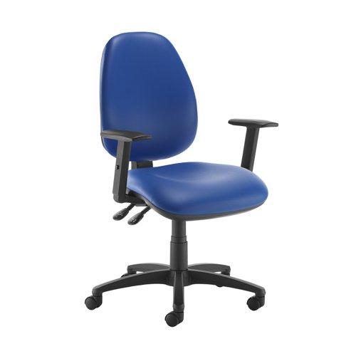 Jota high back operator chair with adjustable arms - Ocean Blue vinyl
