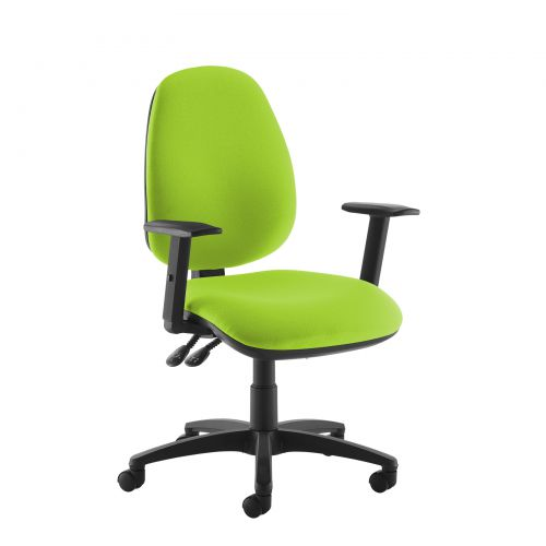 Green high back operator chair with adjustable arms