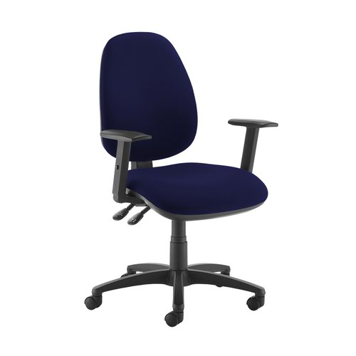 Jota high back operator chair with adjustable arms - Ocean Blue
