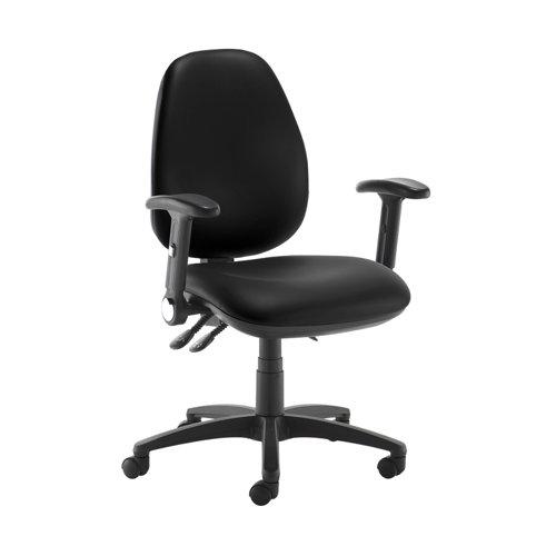 Jota high back operator chair with folding arms - Nero Black vinyl