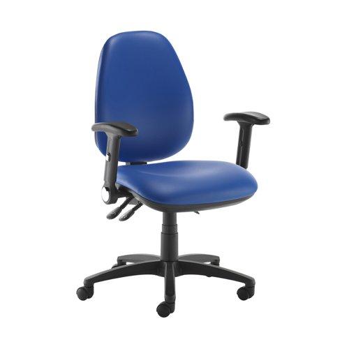Jota high back operator chair with folding arms - Ocean Blue vinyl