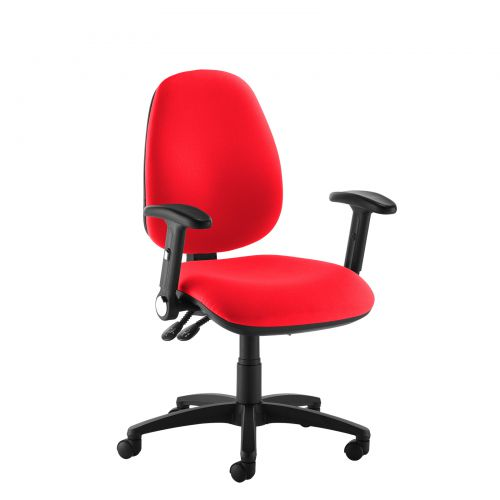 Red high back operator chair with folding arms
