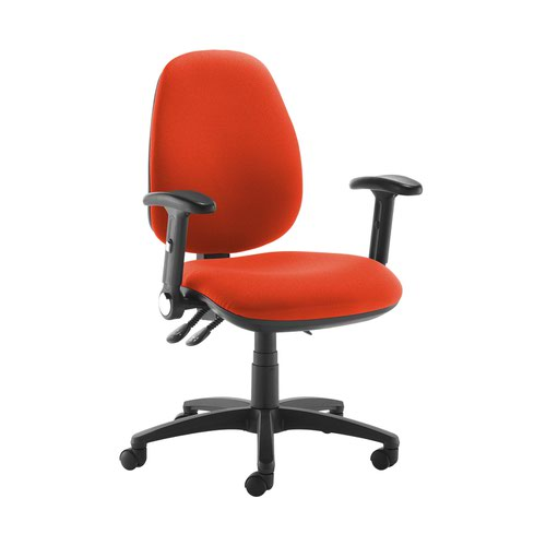 Jota high back operator chair with folding arms - Tortuga Orange