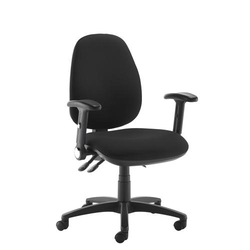 Jota high back operator chair with folding arms - black