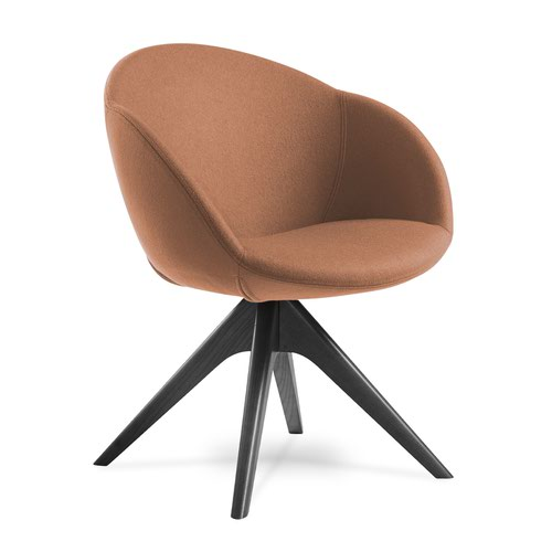 Joss single seater lounge chair with pyramid black oak legs