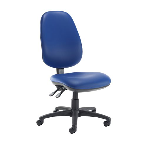 Jota extra high back operator chair with no arms - Ocean Blue vinyl